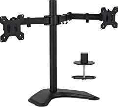 Mount-It! Dual Monitor Stand | 2 Monitor Mount Fits 19 20 21.5 24 27 29 32 Inch Computer Screens | Free Standing and Gromm...