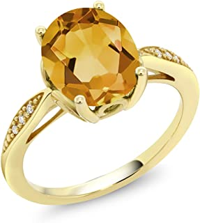 14K Yellow Gold Yellow Citrine and Diamond Women's Ring 2.04 Ct Oval Gemstone Birthstone (Available 5,6,7,8,9)