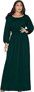 KOH KOH Womens Sleeve Vintage Peasant Empire Waist Pleated Fall