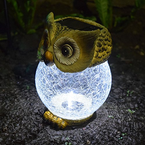 Taylor & Brown Solar Powered Novelty Owl Ornament with Crackle Ball White Led Light Table Top Outdoor Garden Patio Decking Lighting