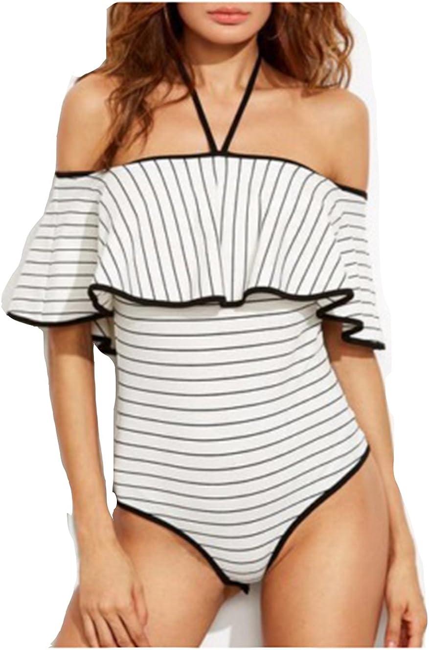 Glosun Women One Pieces Swimsuit Striped Off Shoulder Halterneck Bikini Monokini Bathing Suits