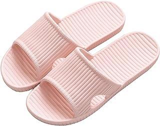 شباشب الحمام للنساء خفيفة الوزن دش المياه أحذية الانزلاق على مقدمة مفتوحة الصنادل الوردي 4.5-5