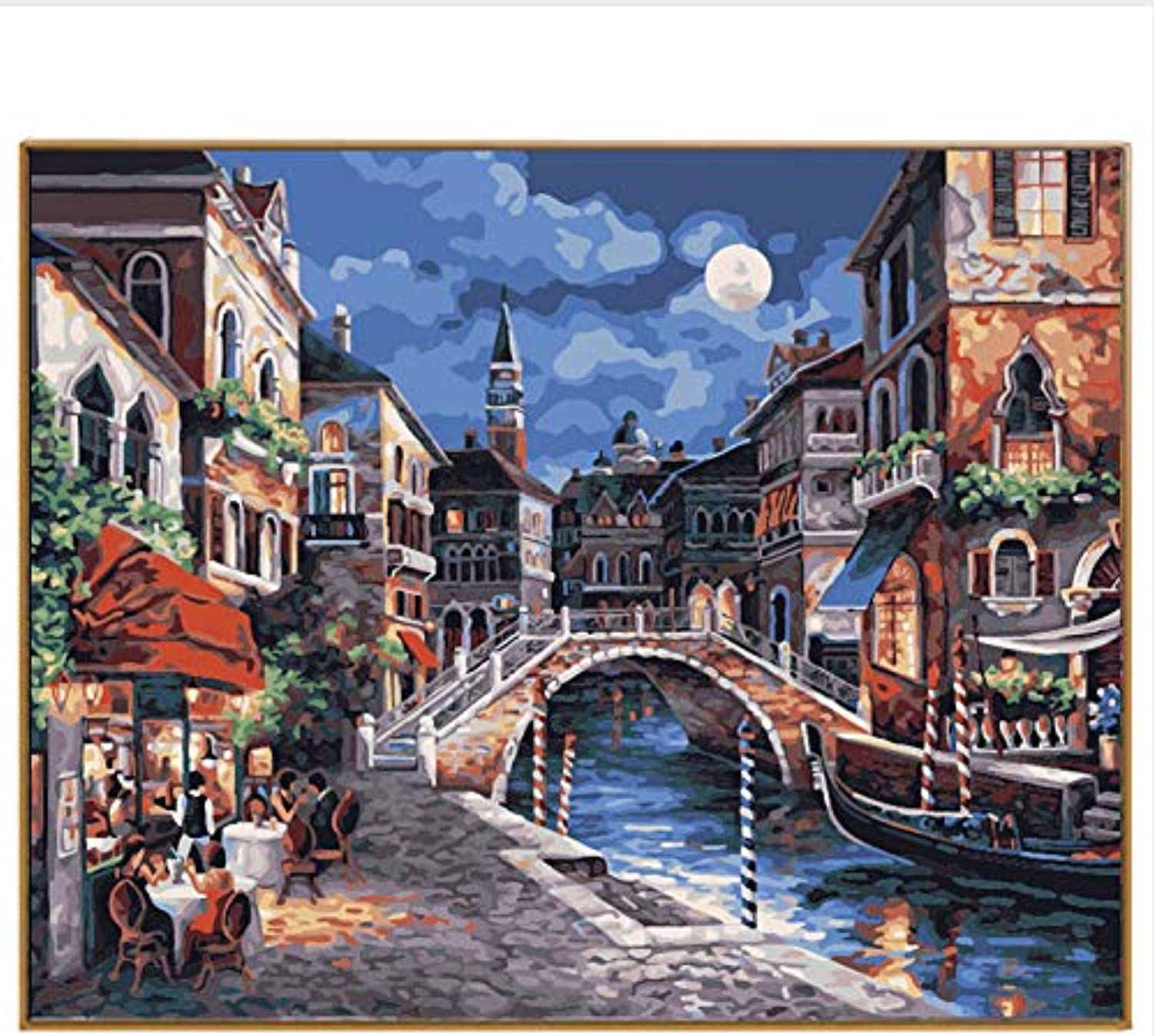 DIY Oil Paint Painting By Numbers Picture Drawing coloring On Canvas Painting By Hand Wall Paint By Number Landscape Town, Framed, 50x60cm