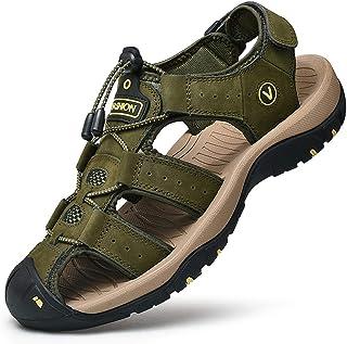 Unitysow Sandali Uomo Estivi All'aperto Antiscivolo Sportivi Escursionismo Trekking Sandals Cuoio Casuale Pescatore Punta ...