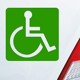 Auto Aufkleber in deiner Wunschfarbe Rollstuhlfahrer Warnhinweis Rollstuhl 10,5x10,5cm Autoaufkleber Sticker Folie