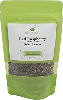 100% Pure and Organic Biokoma Red Raspberry Leaves (Rubus idaeus) Dried Leaves 50g (1.76oz) in Resealable Moisture Proof P...
