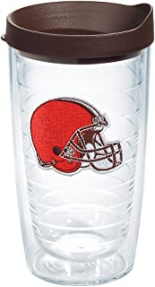 Tervis 1198347 NFL Cleveland Browns Primary Logo Tumbler with Emblem and Brown Lid 16oz, Clear