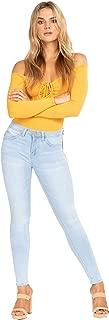 YMI Women's Junior Wannabettabutt 1 Button Mid-Rise Skinny Denim Jeans