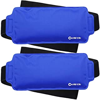 Ice Pack Wrap for Injuries Reusable (2-Piece Set) by WORLD-BIO, Flexible Gel Pack with Elastic Straps Support Surgery Reco...