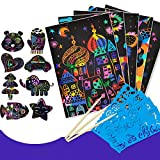 DIY Scratch Art Set, 120 Rainbow Magic Scratch Art Black Scratch Paper Crafts Note Tablero De Dibujo con 6 Lápices Y 10 Plantillas