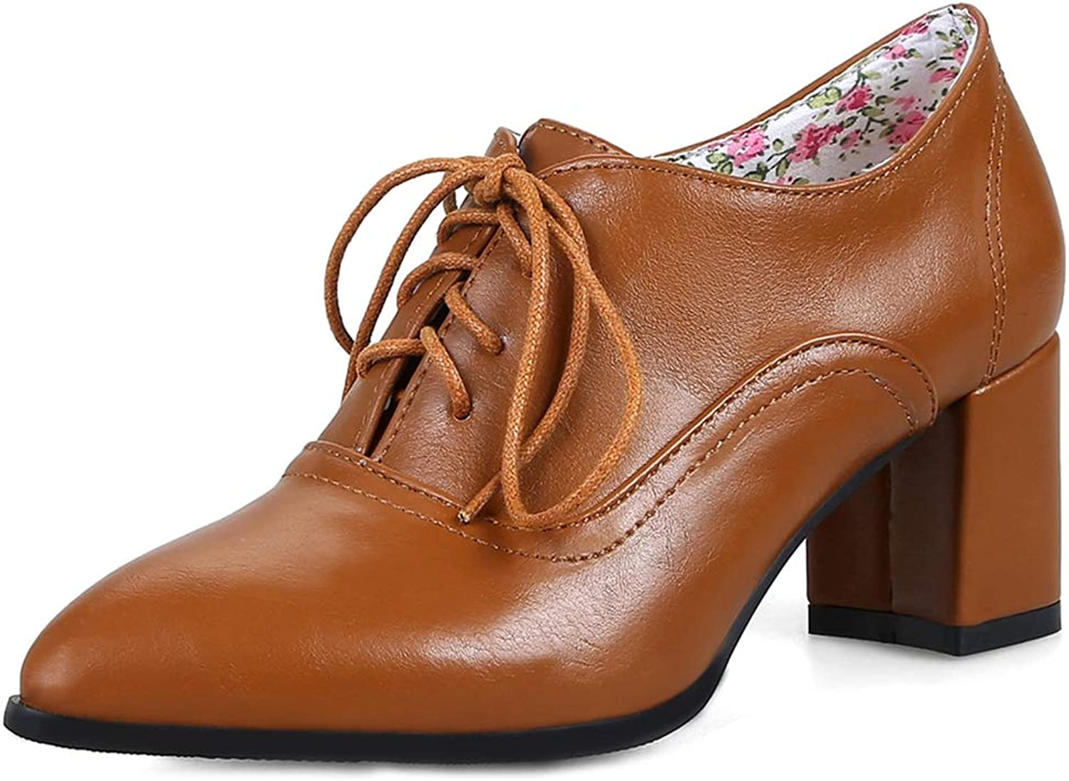 GIY Women's Pointed Toe Oxford shoes Wingtip Lace-up Platform Chunky High Block Heel Dress Pump Brogues