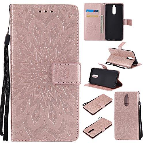WindTeco Funda Huawei Mate 10 Lite, Emboss Pattern de Girasol Cartera Flip de Piel PU Libro Billetera con Función de Soporte y Ranuras de Tarjeta para Huawei Mate 10 Lite
