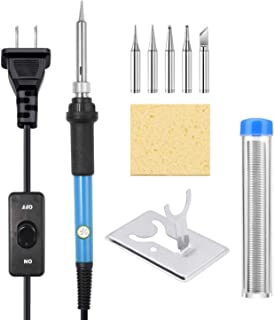 Soldering Iron Kit, [Upgraded] 60W Adjustable Temperature Welding Tool with ON-Off..