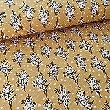 Schickliesel Viskose Jersey Meterware Blumen senfgelb