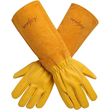 Acdyion Gardening Gloves for Women/Men Rose Pruning Thorn & Cut Proof Long Forearm Protection Gauntlet, Durable Thick Cowhide Leather Work Garden Gloves (Large, Yellow)