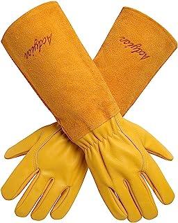 دستکش باغ وحش Acdyion برای زنان / مردان رز هورن طوقه و برش مواظبت طولانی ساق پا حفاظت دستکش، طول عمر چرم گاو چرم کار دستکش باغ (متوسط، زرد)