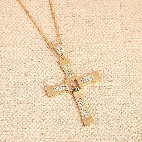 LBBYMX Co.,ltd Necklace The Fast and The Furious Celebrity Fashion 24K Gold Crystal Jesus Cross Pendant Necklaces Men Jewelry Necklace