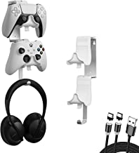 4 in 1 Pacchetto Supporto Parete per Controller Doppio e Cuffie con Cavo di Ricarica Magnetico USB-C a 2 Vie e Tappetino A...