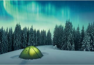 YongFoto 5x3ft Winter Snow View Photography Backdrop Blue Polar Light Background Pine Tree Pup Tent Arctic Adventure Kids Adult Boy Portrait Interior Decor Photo Booth Studio Props Wallpaper