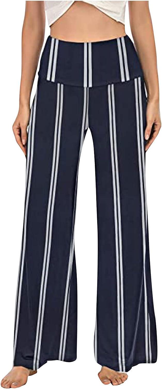 Xiloccer Women's Work Pants Fashion Casual Loose Print Baggy Pants Mid Waist Summer Drawstring Pants Jogger Sweatpants