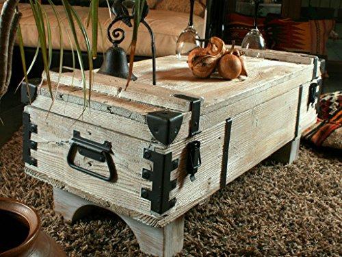 Alte Truhe Kiste Tisch shabby chic Holz Beistelltisch Holztruhe Couchtisch 39 cm Höhe / 41 cm Tiefe / 97 cm Breite - 3