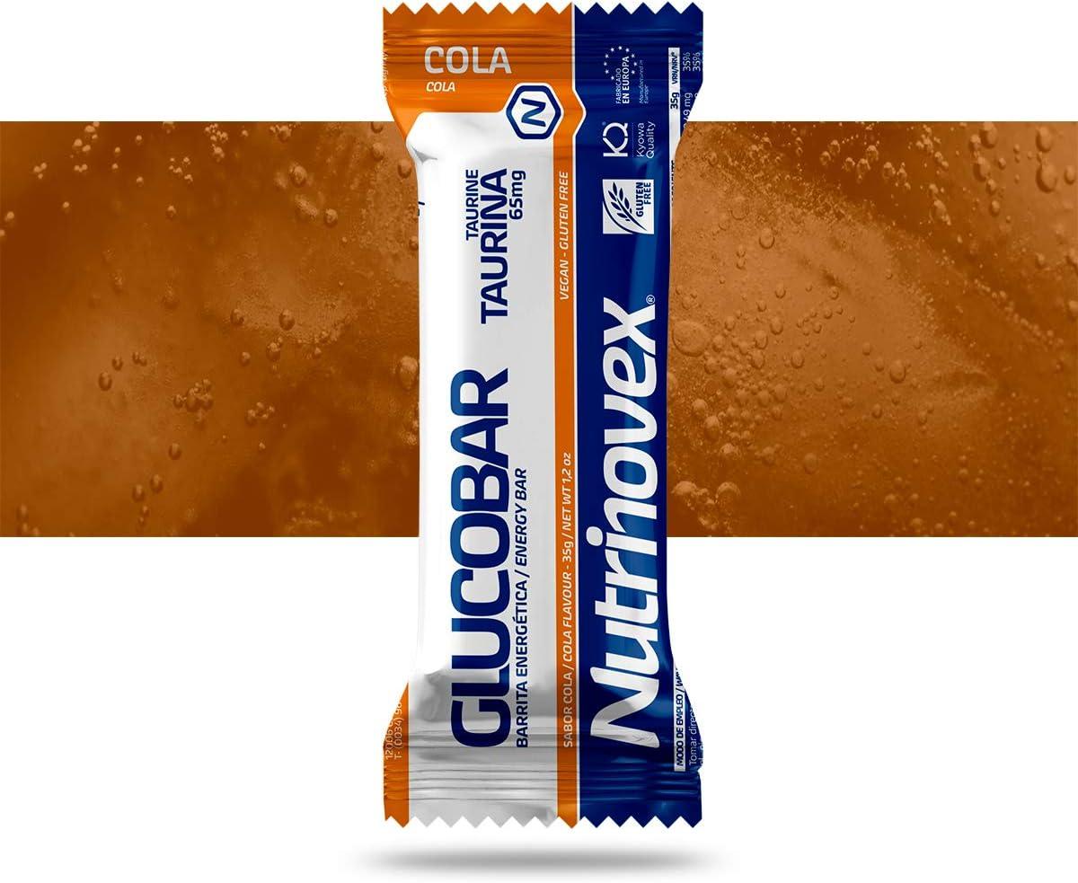 Barrita energética Glucobar con vitaminas, cafeína, taurina y guaraná, 1 paquete de 12 barritas - Cola