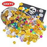 FuturePlusX 500PCS PirateToys Gold Coins and Pirate Gems Jewelery Playset for...