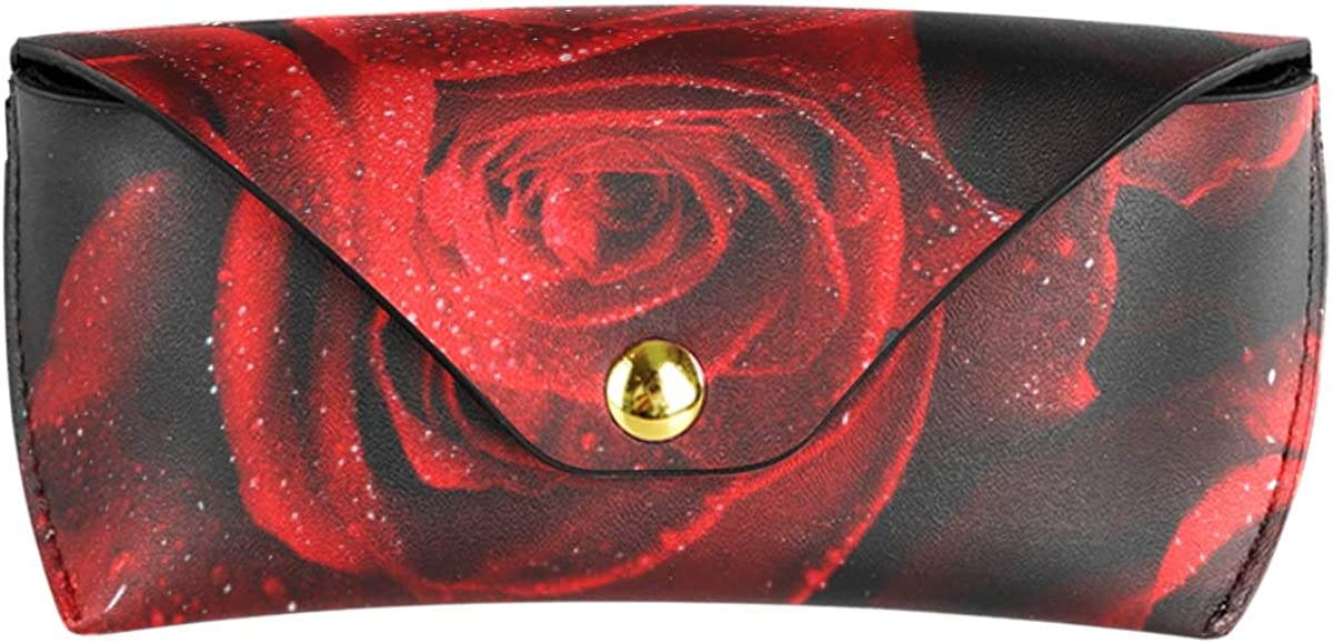 PU Leather Goggles Bag Portable Sunglasses Case Eyeglasses Pouch Rose Red Multiuse Storage