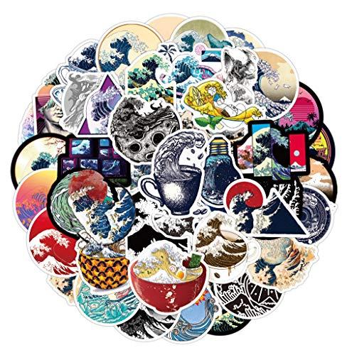 JZLMF Pegatina decorativa Kanagawa para surf Ukiyo-e, pintura al óleo, retro, tableta, portátil, etc.
