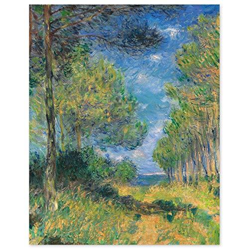 JUNIWORDS Poster, Claude Monet, Weg mit Pinien in Varengeville, 20 x 25 cm