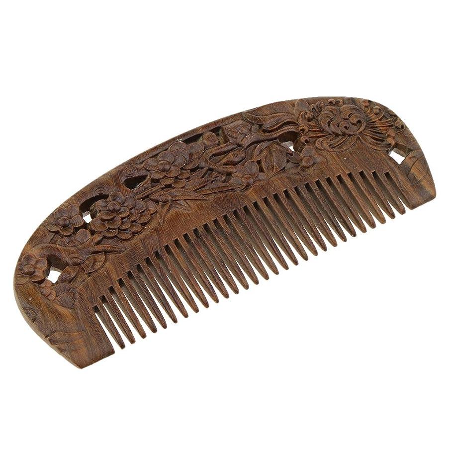 圧縮する出席する追い払うPerfk ヘアコーム 木製櫛 頭皮マッサージ 櫛 ヘアスタイリング 高品質 2タイプ選べる - #2