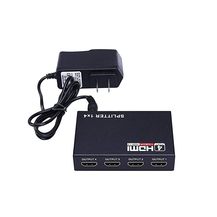 Smith13Store 1X4 Full HD HDMI Splitter 4 Port Hub Repeater Amplifier v1.4 3D 1080p 1 in 4 Out