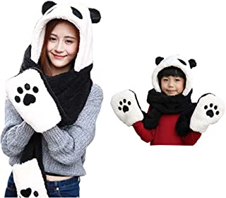King Star Plush Panda Hat Novelty Cap Animal Beanie Long Scarf and Mittens