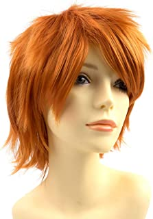 EMERLY Pastel Wigs Vinyl Scratch Alphys Synthetic Wig with Bangs for Party Halloween Costume Women Girls Charming Wigs Wavy Dark Orange