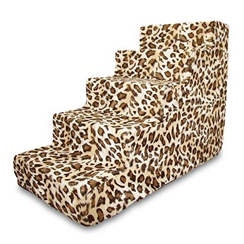 Best Pet Supplies ST225T-L Foam Pet Stairs/Steps, 5-Step, Animal Print
