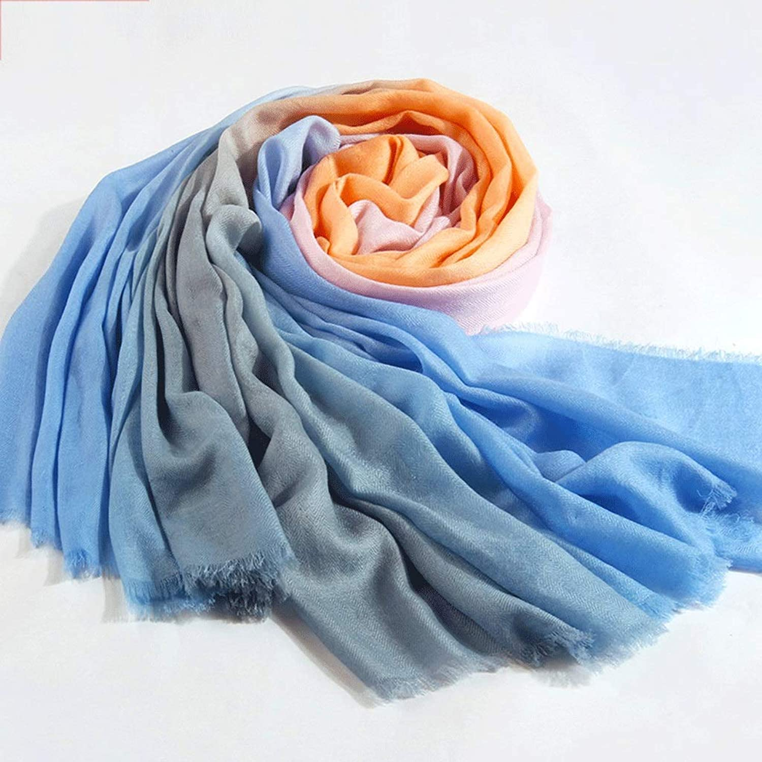CCF Wrap Scarf Gradient color Oversized Size 200cm×105cm Soft Elegant Keep Warm Shawl V (color   No. 1)