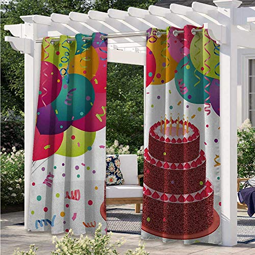 Adorise Indoor Outdoor Curtains Strawberry Triplex Cake with Candles Ribbons Balloons Newborn Celebration Theme Porch Decor Privacy Curtain for Pergola/Porch Multicolor W84 x L84 Inch