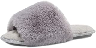 Womens Memory Foam House Slippers Furry Faux Fur Sandals Slides Soft Flat Comfy Anti-Slip Cute Fuzzy Slippers Outdoor and Indoor