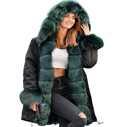 44260bbf92a30 Roiii Women Winter Hoodies Overcoat Wine Red Faux Fur Parka Casual Luxury  Coat Jacket Plus Size