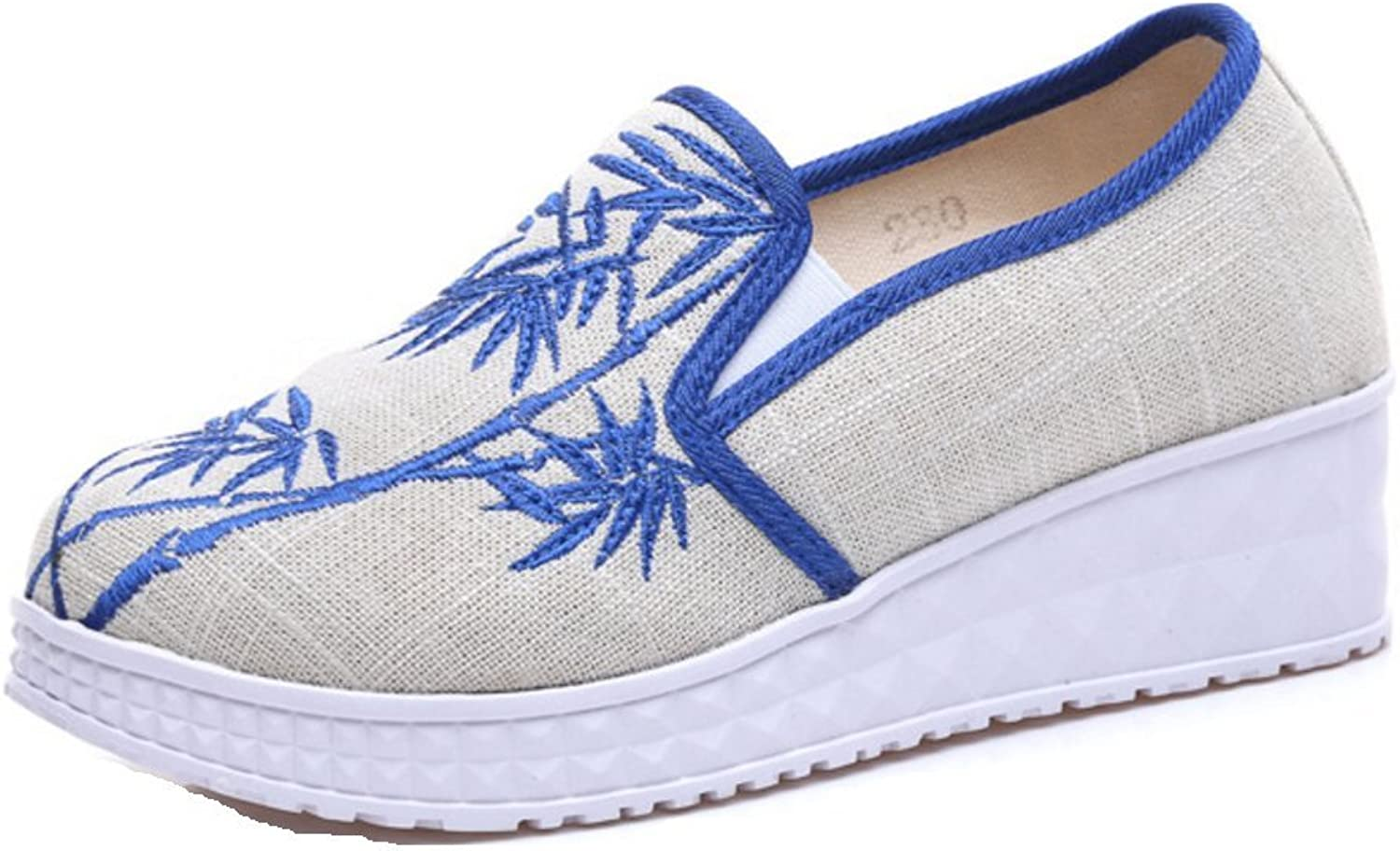 Tianrui Crown Women and Ladies Bamboo Leaf Embroidery Wedge Platform Casual Sneaker shoes
