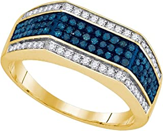 10k Yellow Gold Ring Mens Blue Diamond Fashion Band Flat Top Style Stripes Design Polished 3/4 ctw