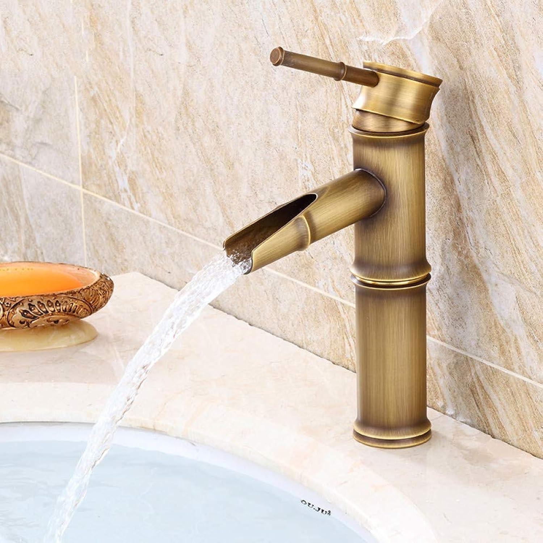 ZHFJGKR&ZL Bathroom Sink Basin Mixer Bamboo Single Hole Basin Mixer Hot And Cold Water Faucet-A