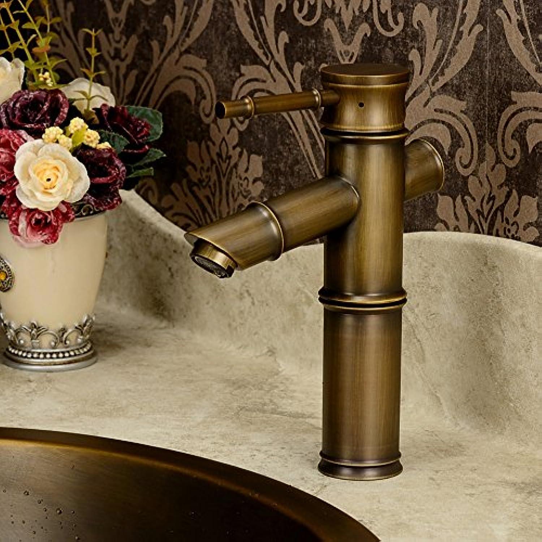 MangeooDie klassische Europische antike Faucet single Einloch Mischbatterie alle oben Taiwan Waschbecken Wasserhahn Zeichnung patina Bronze, Bronze grün 191 Q