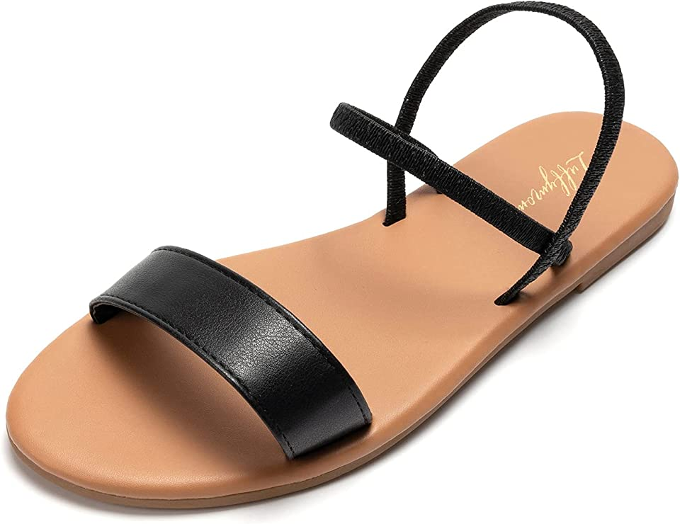 LUFFYMOMO Women's Ankle Strap Sandals Slip on Flat Sandal Elastic Comfort Summer Shoes