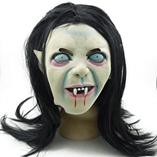 ULTNICE Halloween Horrific Mask Creepy Terrifying Toothy Zombie Ghost Sadako Mask with Hair for Cosplay Costume
