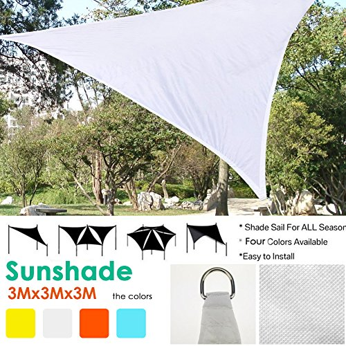 kati-way Voile d'ombrage Triangulaire, Toile d'ombrage Solaire en HDPE Résistant Anti UV Ombrager pour Jardin Patio Piscine Terrasse Balcon Camping 3x3x3m Blanc (1pc)