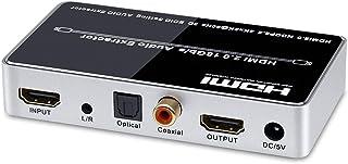 ELEVIEW 4K 60Hz HDR対応 HDMI 音声分離器 (音声出力:同軸・光デジタル・3.5mmステレオミニ)|HDMI2.0・HDCP2.2 デジタルオーディ分離器 PS4pro・Fire TVなどに適用 電源アダプタ付き EHD-...