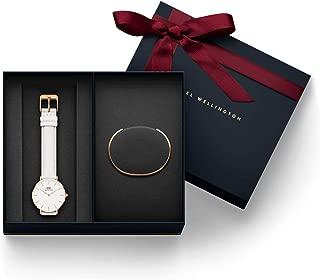 Daniel Wellington Women's Petite Bondi White, Rose Gold 32 mm Watch + Bracelet Rose Gold - Small (DW00100189 + DW00400003)