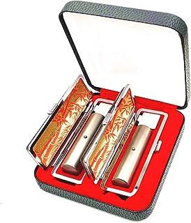 チタン印鑑 ステンレス球付きケース付き 2本セット ブラストチタン 個人印鑑 ハンコ 判子 実印 銀行印 認印 10.5~18ミリ チタン サイズが選べる (15MM+18MM)