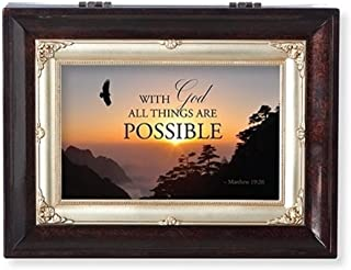 Roman with God Brown Insert Large Music Box Encouragement or Inspirational